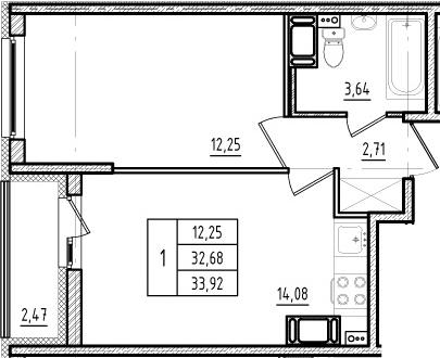 2Е-к.кв, 32.68 м², от 15 этажа