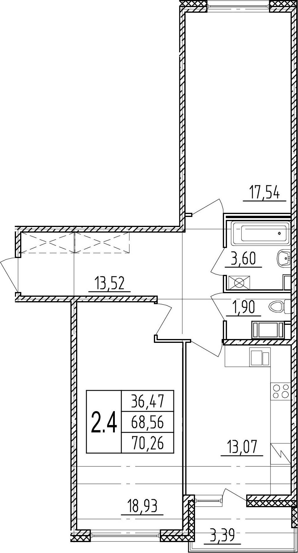 2-к.кв, 71.95 м²