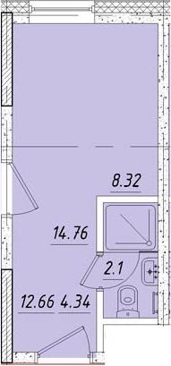 Студия, 14.9 м², 3 этаж