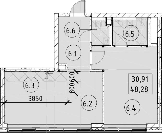 2Е-к.кв, 48.28 м², 38 этаж