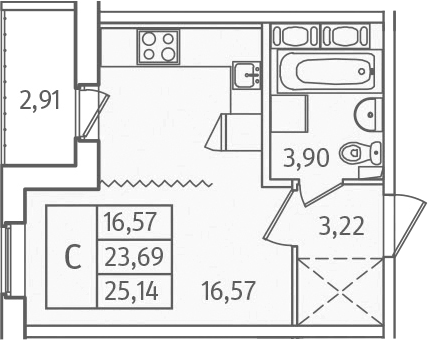 Студия, 26.59 м²