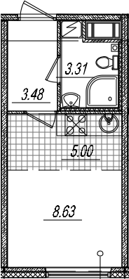 Студия, 20.42 м²– 2