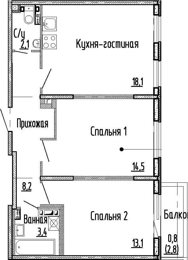 3Е-комнатная, 59.4 м²– 2