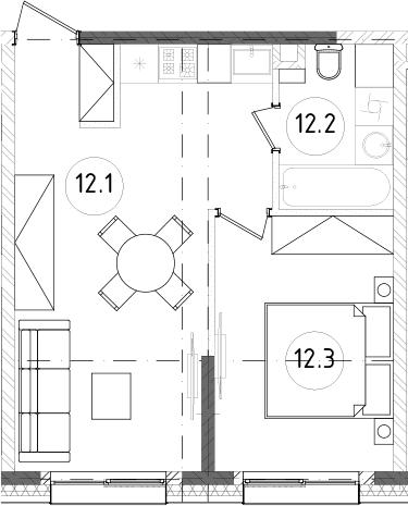 2Е-к.кв, 37.77 м², 7 этаж