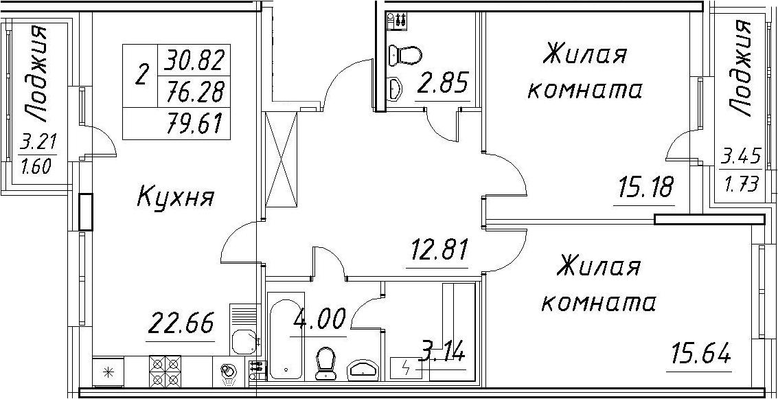 3-к.кв (евро), 82.94 м²