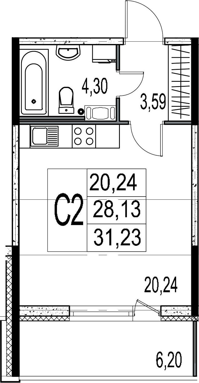 Студия, 28.13 м², 8 этаж