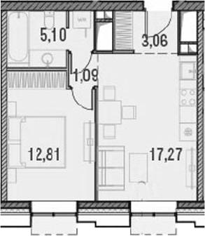 2Е-комнатная, 39.33 м²– 2