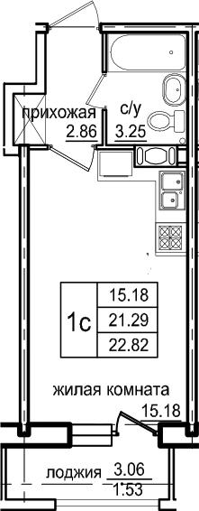 Студия, 22.82 м², 7 этаж