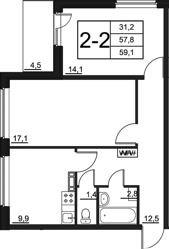 2-к.кв, 62.13 м²