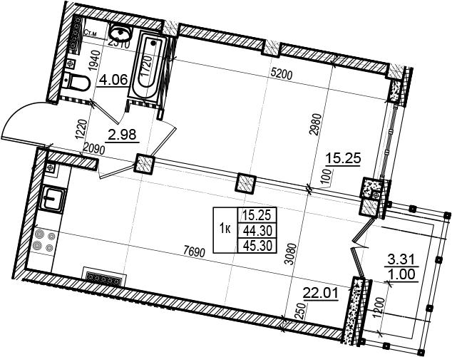 2Е-комнатная, 45.3 м²– 2