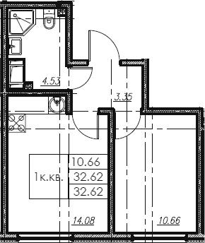 1-комнатная, 32.62 м²– 2