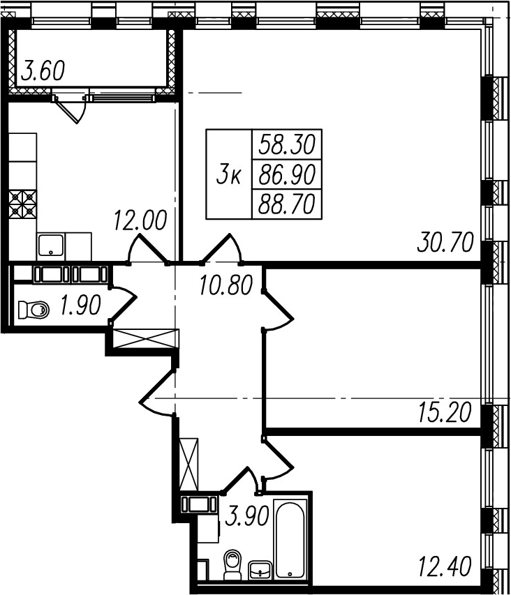 3-к.кв, 86.9 м², от 4 этажа