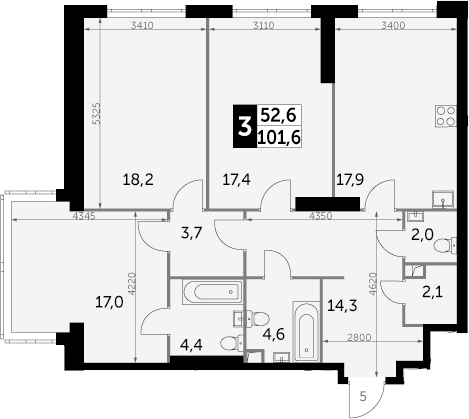 3-комнатная, 101.6 м²– 2