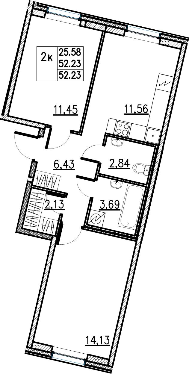 2-комнатная, 52.23 м²– 2