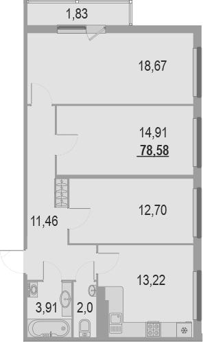3-к.кв, 80.41 м²