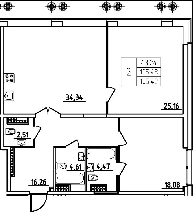 3Е-комнатная, 105.43 м²– 2