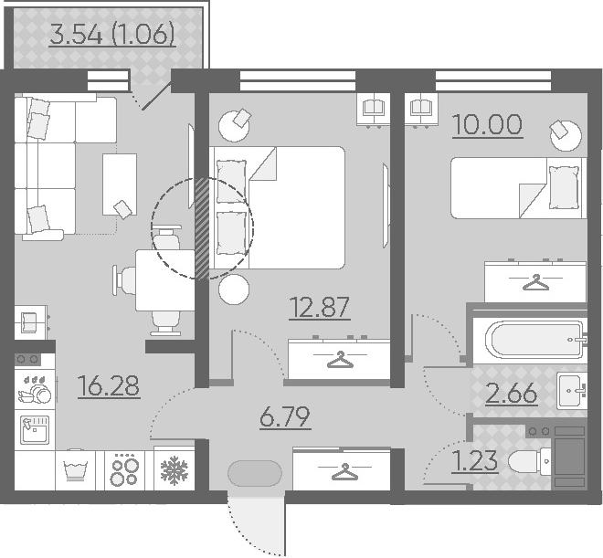3-к.кв (евро), 53.36 м²