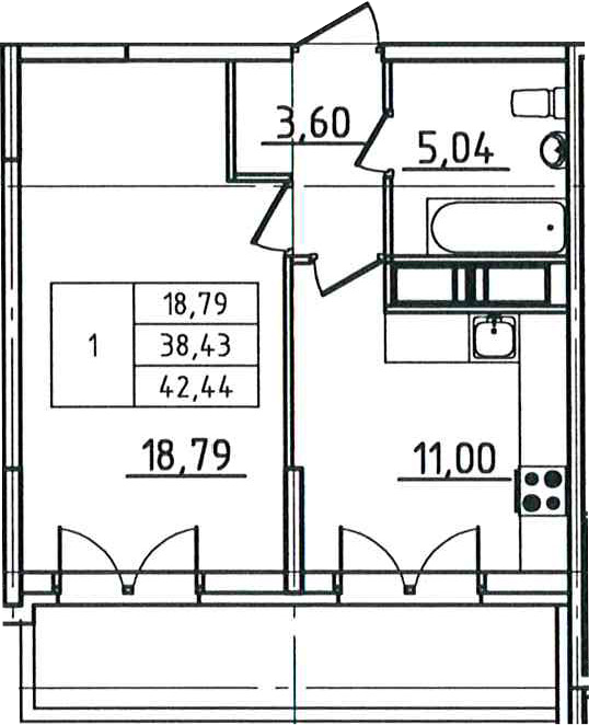 1-к.кв, 46.45 м²