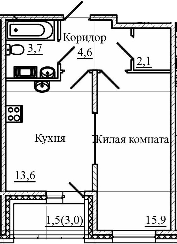 1-к.кв, 42.9 м²