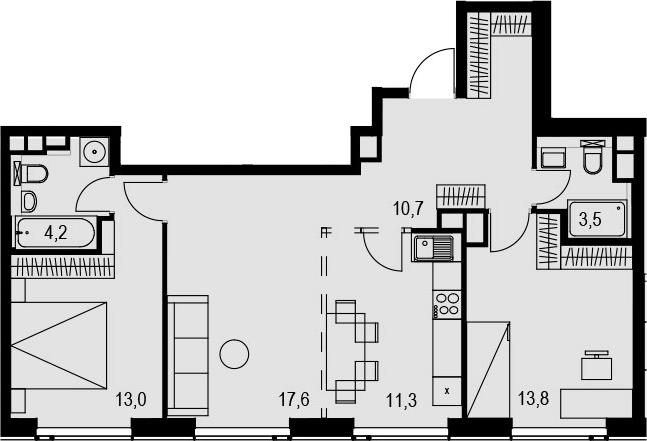 3-комнатная, 74.1 м²– 2