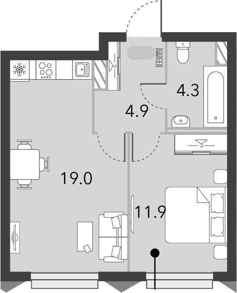 2Е-к.кв, 40.1 м², от 7 этажа