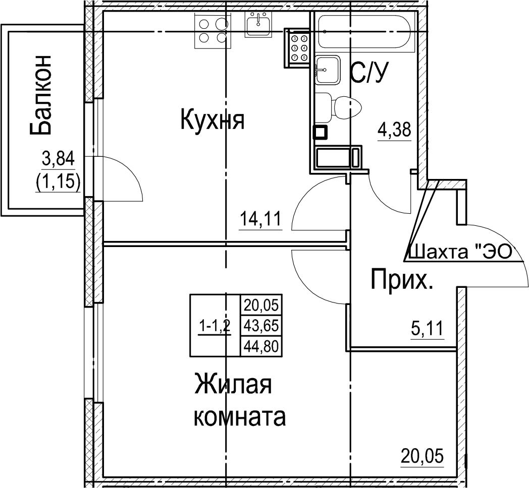 1-к.кв, 47.48 м²