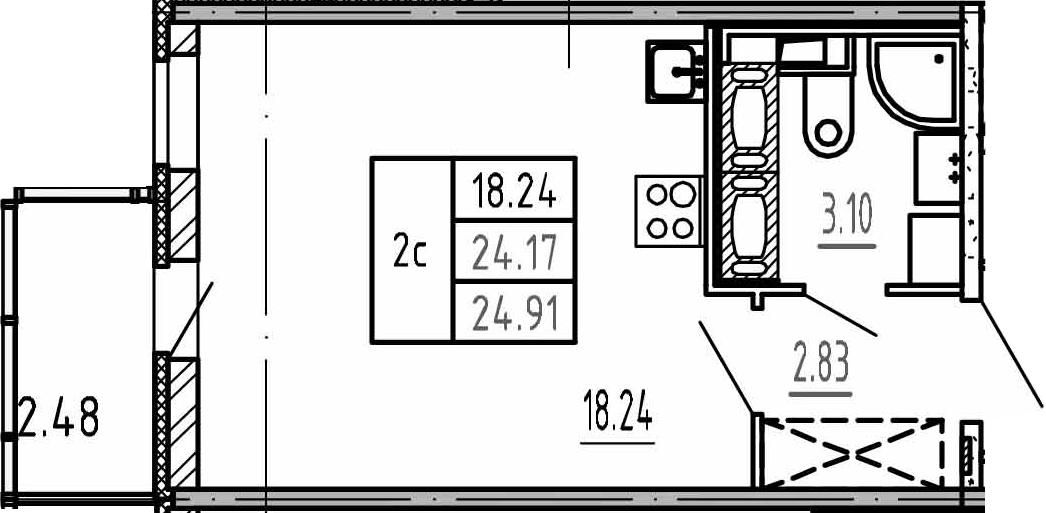 Студия, 24.17 м², 15 этаж