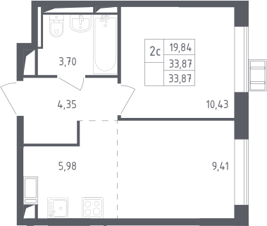 2Е-к.кв, 33.87 м², 12 этаж