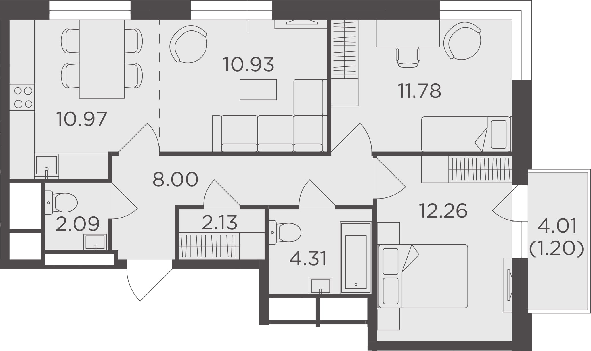 3Е-к.кв, 63.67 м²