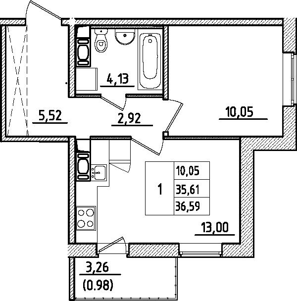 1-к.кв, 36.6 м², от 2 этажа