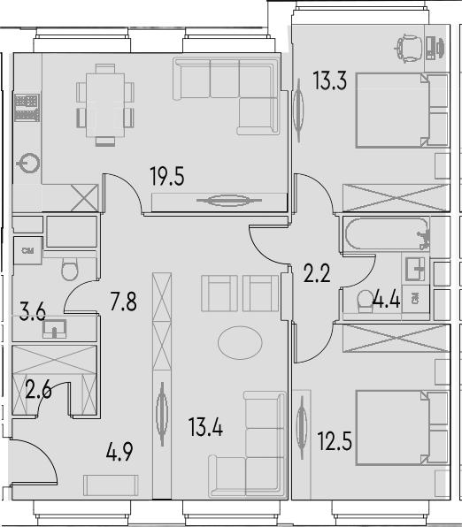 4Е-к.кв, 84.2 м²