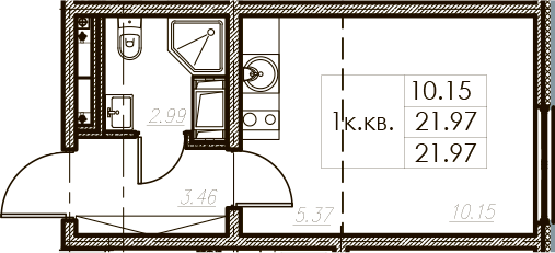 Студия, 21.97 м²