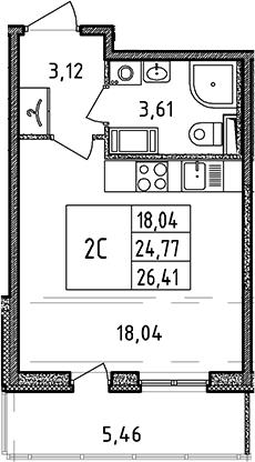 Студия, 24.77 м²