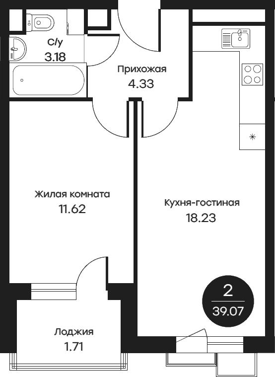 2Е-к.кв, 39.07 м²
