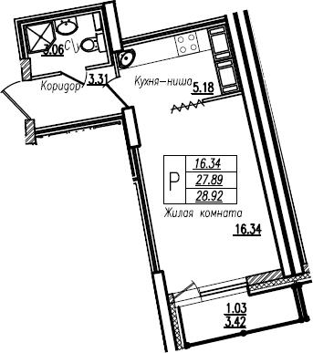 Студия, 28.92 м²– 2