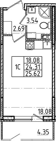 Студия, 24.31 м²