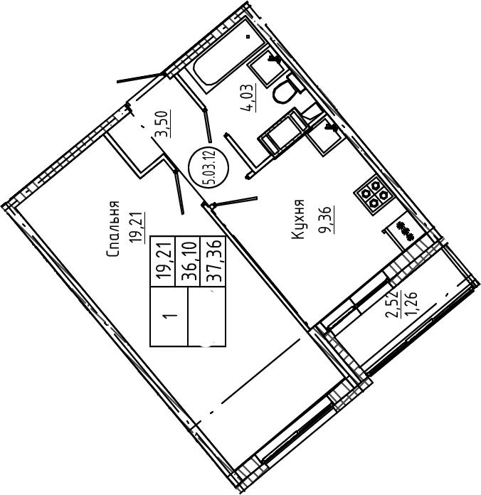 1-комнатная, 37.36 м²– 2