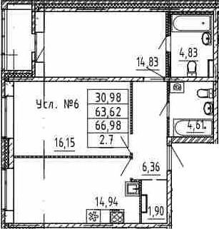 2-комнатная, 63.62 м²– 2