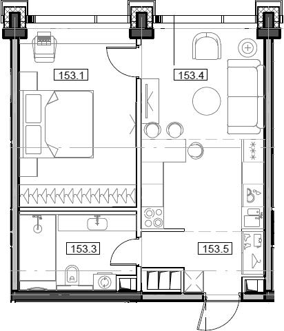 2Е-комнатная, 43.45 м²– 2