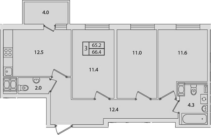 3-к.кв, 66.4 м²