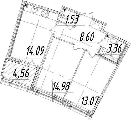 2-к.кв, 57.91 м²