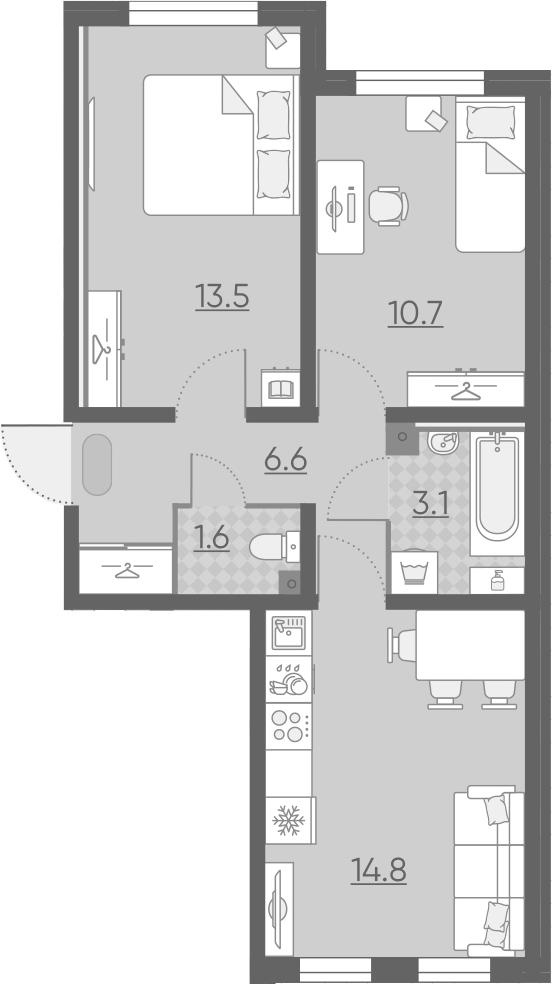 3Е-к.кв, 50.3 м², 1 этаж