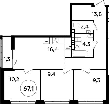 4Е-комнатная, 67.1 м²– 2
