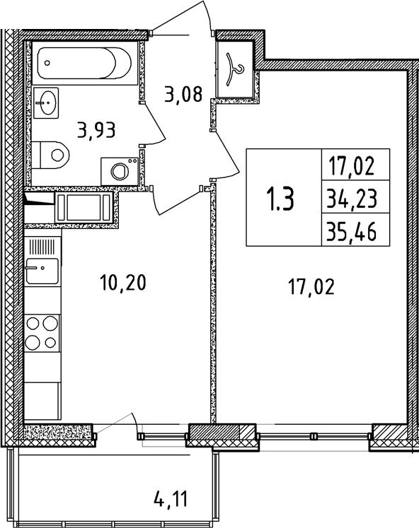 1-комнатная, 34.23 м²– 2