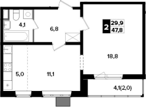 2Е-к.кв, 47.8 м², 2 этаж