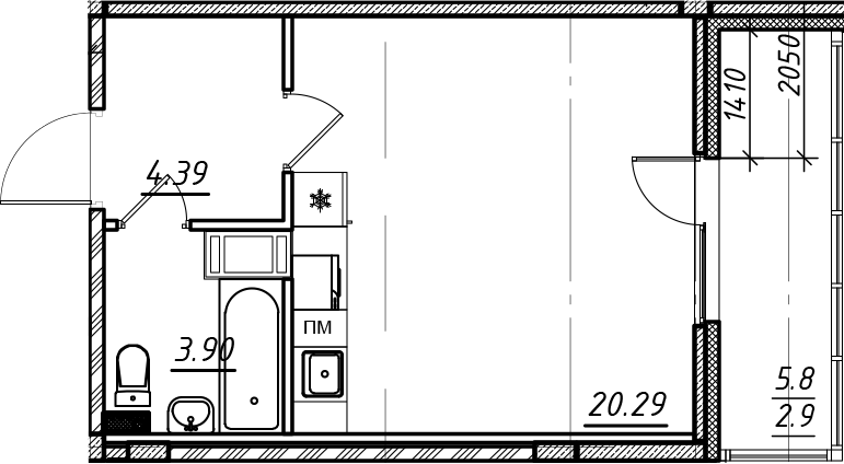 Студия, 31.48 м²– 2