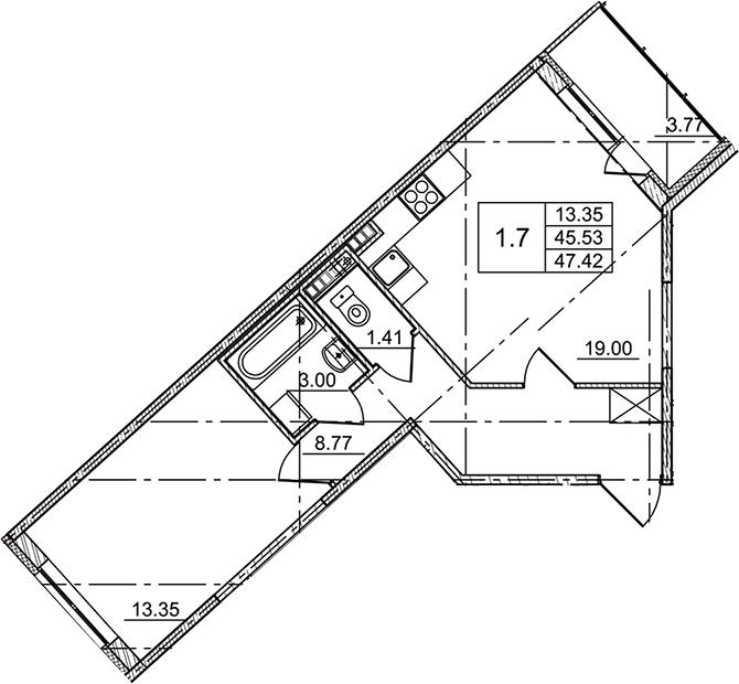 2Е-комнатная, 47.42 м²– 2