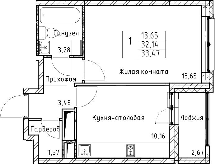 1-комнатная квартира, 33.47 м², 3 этаж – Планировка