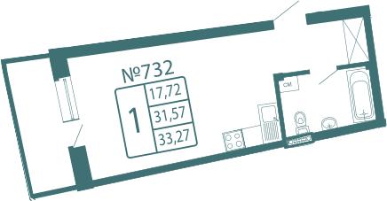Студия, 33.27 м²