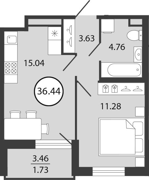 2Е-к.кв, 36.44 м², 1 этаж